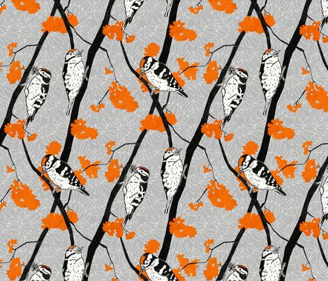 Woodpeckers and Orange Rowan Berries fabric by threebearsprints on Spoonflower - custom fabric