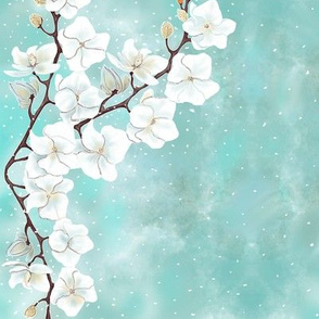 White floral vines large print by Salzanos