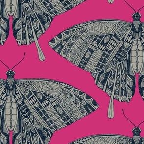 swallowtail butterfly pink indigo