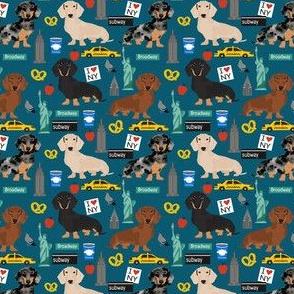 Dachshund New York City dog breed fabric blue