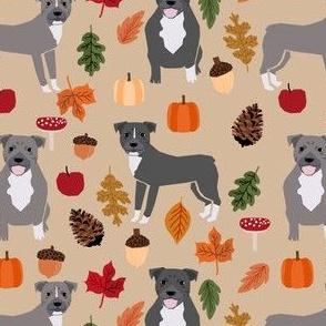 pitbull autumn leaves fabric fall autumn woodland dog fabric - tan