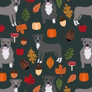 pitbull autumn leaves fabric fall autumn woodland dog fabric - dark green
