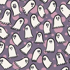 Retro ghosts on Purple