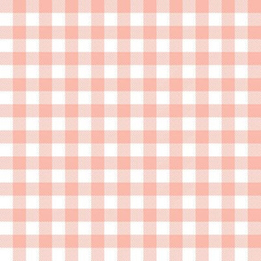 gingham plaid check fabric nursery baby girl design - peach