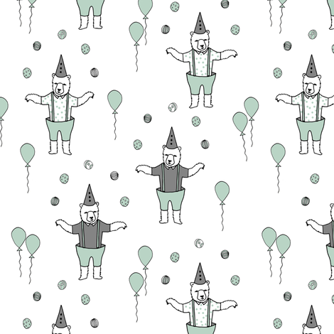 Bear fabric // circus fabric white mint and grey fabric by andrea_lauren on Spoonflower - custom fabric