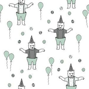Bear fabric // circus fabric white mint and grey