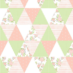 floral cheater quilt triangle patchwork coral peach and lime