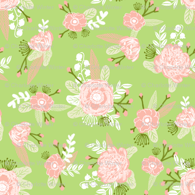 lime and coral peach florals fabric girls baby nursery design