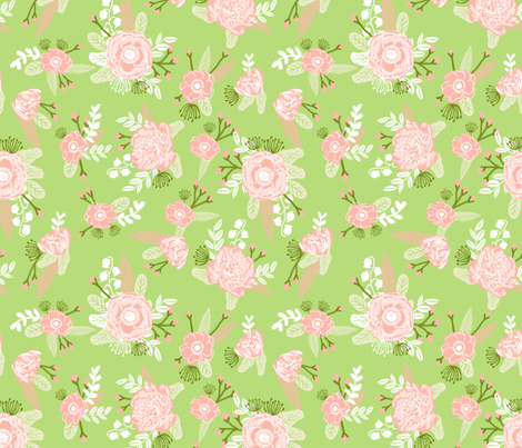 lime and coral peach florals fabric girls baby nursery design fabric by charlottewinter on Spoonflower - custom fabric
