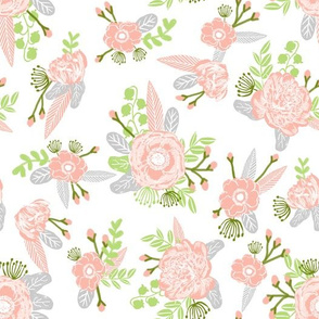 coral and peach florals nursery baby girl design