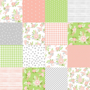 floral cheater quilt patchwork coral peach and lime