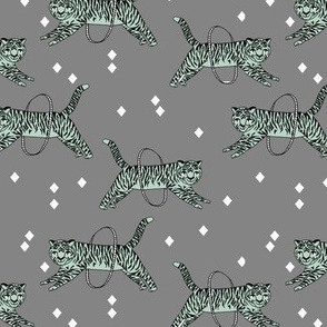 Tigers fabric // circus fabric grey nursery baby design