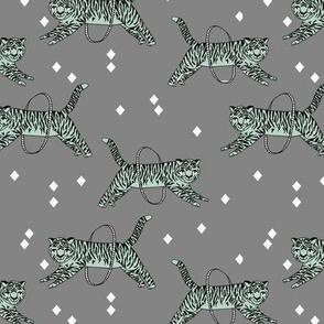 Tigers fabric // circus fabric grey nursery baby design