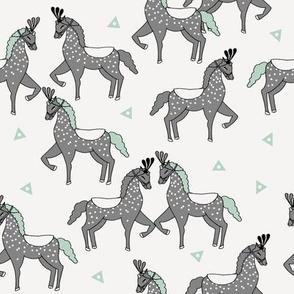 horses fabric //  circus show horses mint and grey horse design
