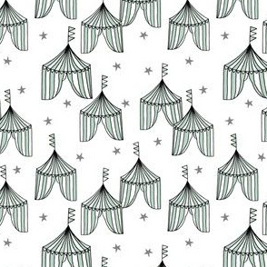 circus tent big top fabric // mint and grey nursery carnival fabric white