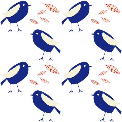 Blue bird fabric by bruxamagica on Spoonflower - custom fabric