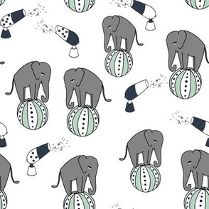 elephants circus fabric // nursery baby navy and mint performer fabric white