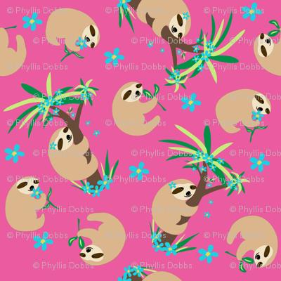 Sloth Hugs Fuchsia Pink