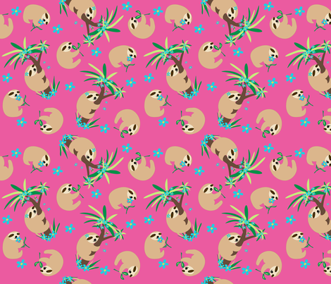 Sloth Hugs Fuchsia Pink fabric by phyllisdobbs on Spoonflower - custom fabric