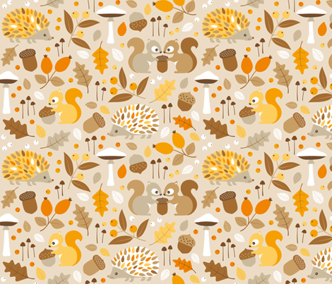 forest in fall fabric by heleenvanbuul on Spoonflower - custom fabric