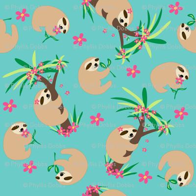 Sloth Hugs Turquoise Teal