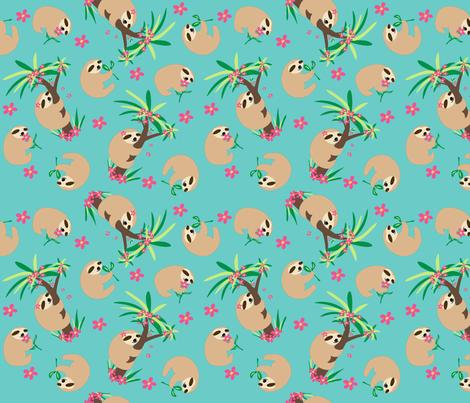Sloth Hugs Turquoise Teal fabric by phyllisdobbs on Spoonflower - custom fabric