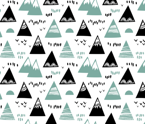 Mountains and birds fabric by silmen on Spoonflower - custom fabric