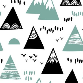 Mountains and birds