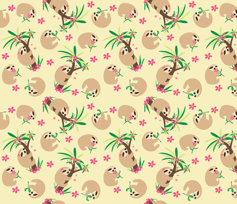 Sloth Hugs Yellow fabric by phyllisdobbs on Spoonflower - custom fabric