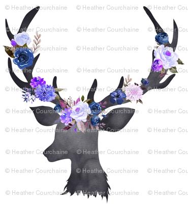 """4"""" Deer Head Floral BLUE"""