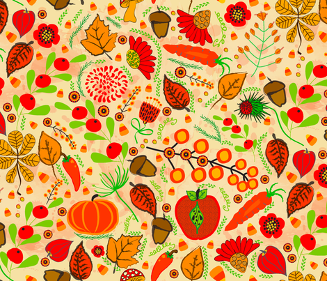 Yellow Harvest fabric by orangefancy on Spoonflower - custom fabric