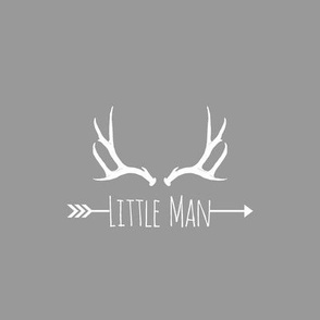 Little Man Antlers (8x8 quilt square) - on grey