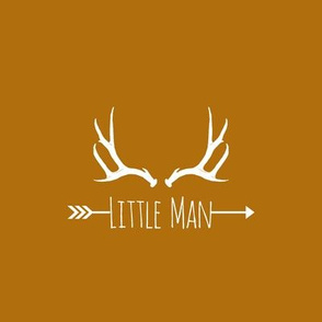 Little Man Antlers (8x8 quilt square) - on burnt orange
