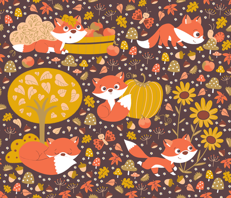 foxy fall fabric by gnoppoletta on Spoonflower - custom fabric