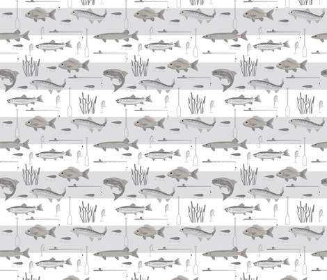 Fishermans Bounty Gray fabric by phyllisdobbs on Spoonflower - custom fabric