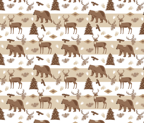 Woodland Forest Wildlife Brown fabric by phyllisdobbs on Spoonflower - custom fabric