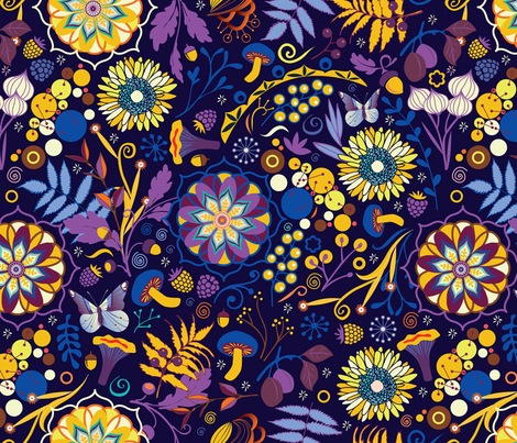 Ripe autumn – purple and yellow fabric by camcreative on Spoonflower - custom fabric