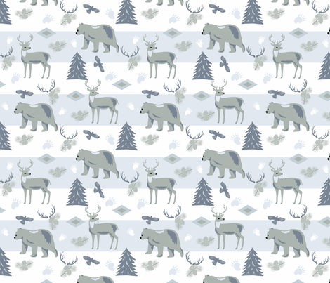 Forest_Wildlife_Gray fabric by phyllisdobbs on Spoonflower - custom fabric