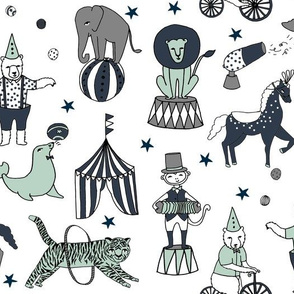 circus animals fabric //  navy mint and grey nursery fabric circus big top design by andrea lauren