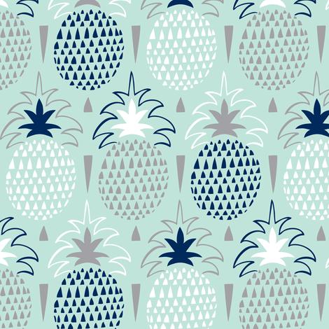 Fresh Picked - Summer Pineapple Geometric Mint fabric by heatherdutton on Spoonflower - custom fabric
