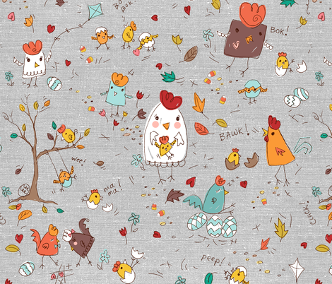 autumn chicken scratch - gray fabric by designed_by_debby on Spoonflower - custom fabric