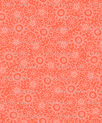 Coral Orange Flowers Tonal