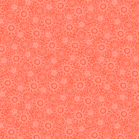 Coral Orange Flowers Tonal fabric by phyllisdobbs on Spoonflower - custom fabric