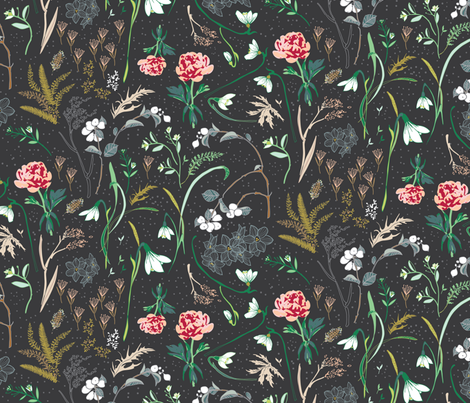 Enchanted Floral LARGE (charcoal)  fabric by nouveau_bohemian on Spoonflower - custom fabric