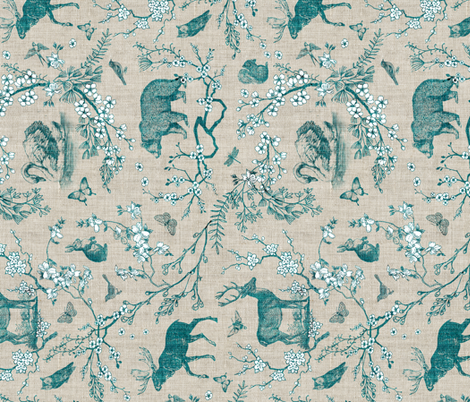 woodland spring toile (teal) RAILROAD fabric by nouveau_bohemian on Spoonflower - custom fabric