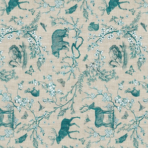 woodland spring toile (teal) RAILROAD