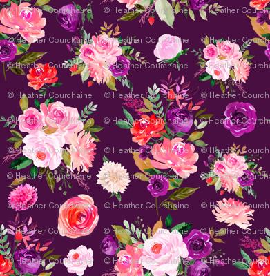 "6"" BRIGHT Watercolor Floral Bouquets on Purple"