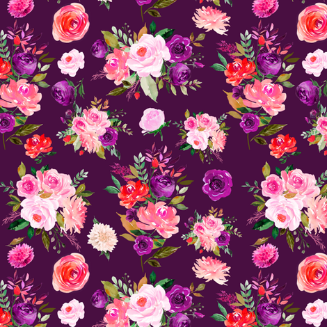 """6"""" BRIGHT Watercolor Floral Bouquets on Purple fabric by greenmountainfabric on Spoonflower - custom fabric"""