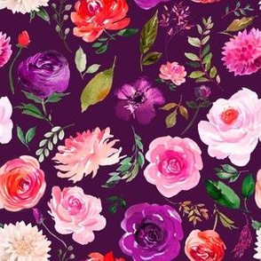 """6"""" BRIGHT Watercolor Floral on Purple"""