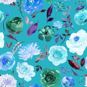 """6"""" BLUE Watercolor Floral on Blue"""